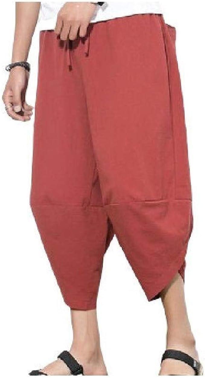 Nicellyer メンズリネン中国スタイルのソリッドカラーの不規則なファッションスポーツジョガーパンツ