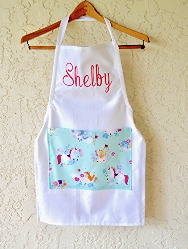 Girls personalized unicorn pocket apron with name! from White Rabbit Kids