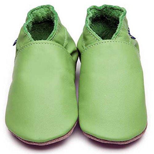 Inch Blue Girls Boys Luxury Leather Soft Sole Pram Shoes - Plain Green