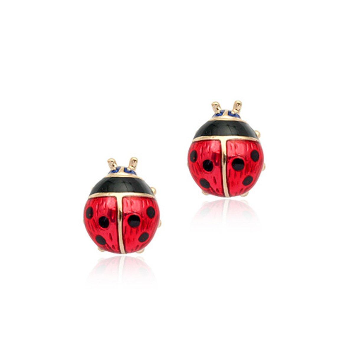 18k Gold Plated Enamel Red Spotty Beetle Ladybird Stud Earrings Beetles 10mm Girl Jewellery Gift UK