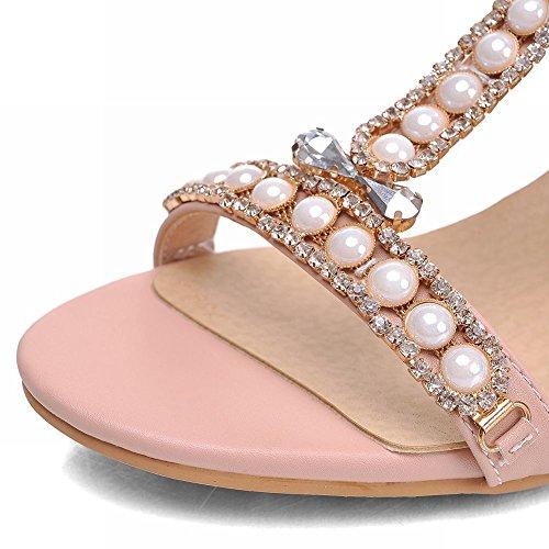 Carolbar Elegante Kvinner Beaded Skinnende Rhinestone Spenne T-stropp Nåde Søte Tykk Midten Hæl Sandaler Rosa