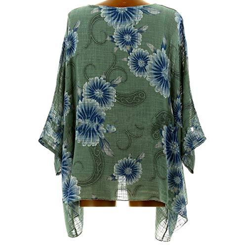 Top A Pipistrello Green T Floreale Stampa Tunica Con Maniche Irregolare shirt aYARa8