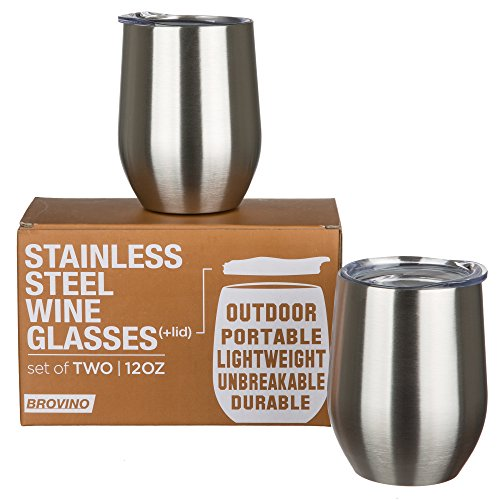 Stainless Steel Wine Glasses With Lid   Set Of 2   12 Oz Double Walled Insulated Outdoor Wine Tumblers   100  Unbreakable   Stemless Glass   Drinkware Set For  Wine  Coffee  Water