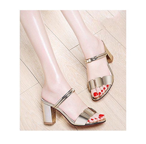 Dream Gold High Heels Sandals Summer Ladies High Heels Elegant Roman Sandals (Color : Gold, Size : 34)