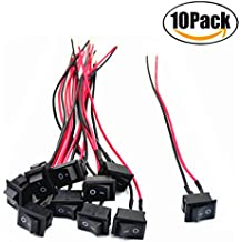COOLOOdirect 10 Pcs Black AC 6A/250V 10A/125V 2 Solder SPST On/Off Mini Boat Wired Rocker Switch Car Auto Boat Round Rocker 2Pin Toggle SPST Switch Snap With lines (Black, 2.1 x 1.5cm)