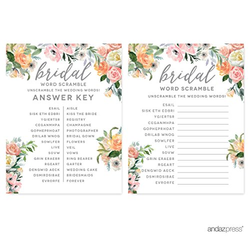 (Andaz Press Peach Coral Floral Garden Party Wedding Collection, Wedding Word Scramble Bridal Shower Game Cards, 20-Pack)