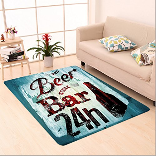 Nalahome Custom carpet Grunge Beer Bar 24h Figure Old Pub Sign Emblem Restaurant Graphic Design Maroon Dark Brown Teal area rugs for Living Dining Room Bedroom Hallway Office Carpet (24''x40'') by Nalahome