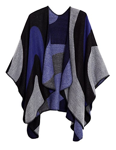 Urban CoCo Women's Color Block Shawl Wrap Open Front Poncho Cape (Series 19-Royal Blue) (Knit Wrap Cardigan)