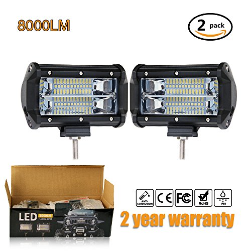 Jiuguang Led Pods Light Auto Power Plus 2Pcs 5 Inch 144W Off Road Led Light Bar Light Work Light Bar Waterproof Driving Fog Lights For Power Atv Utv Suv Off Road Jeep Marine Boat Lamp  Spot 1 Pair