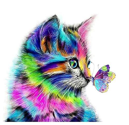 Colorful Cat (DIY Diamond Pianting Kits for Kids Diamond Dotz Diamond Drawing (Colorful cat, 30x30cm))