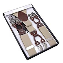 Panegy Men's Vintage Formal Suspenders with 6 Strong Clips Clip On Y Shape Wide Leather Braces Khaki