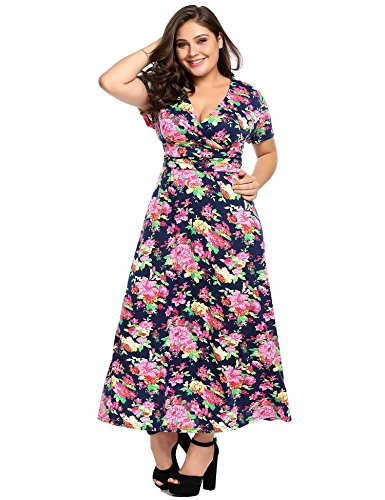 IN'VOLAND Women Plus Size Vintage Style Swing Dress Half Sleeve Floral Party Cocktail Wedding Dress (Dress Floral Style)