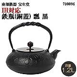 Comolife Japanese Traditional 'Nambu Tekki' Craft Tea Kettle 40.57 oz with Copper Color Lid, Induction Cooker Enable, Color : Black, Pattern : Calabash