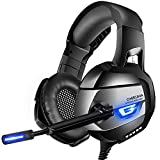 ONIKUMA Stereo [Updated] Gaming Headset PS4, Xbox One, PC, Enhanced 7.1 Surround Sound, Updated Noise Cancelling Mic Headphones, Soft Breathing Earmuffs, Mute & Volume Control Nintendo Switch Laptop