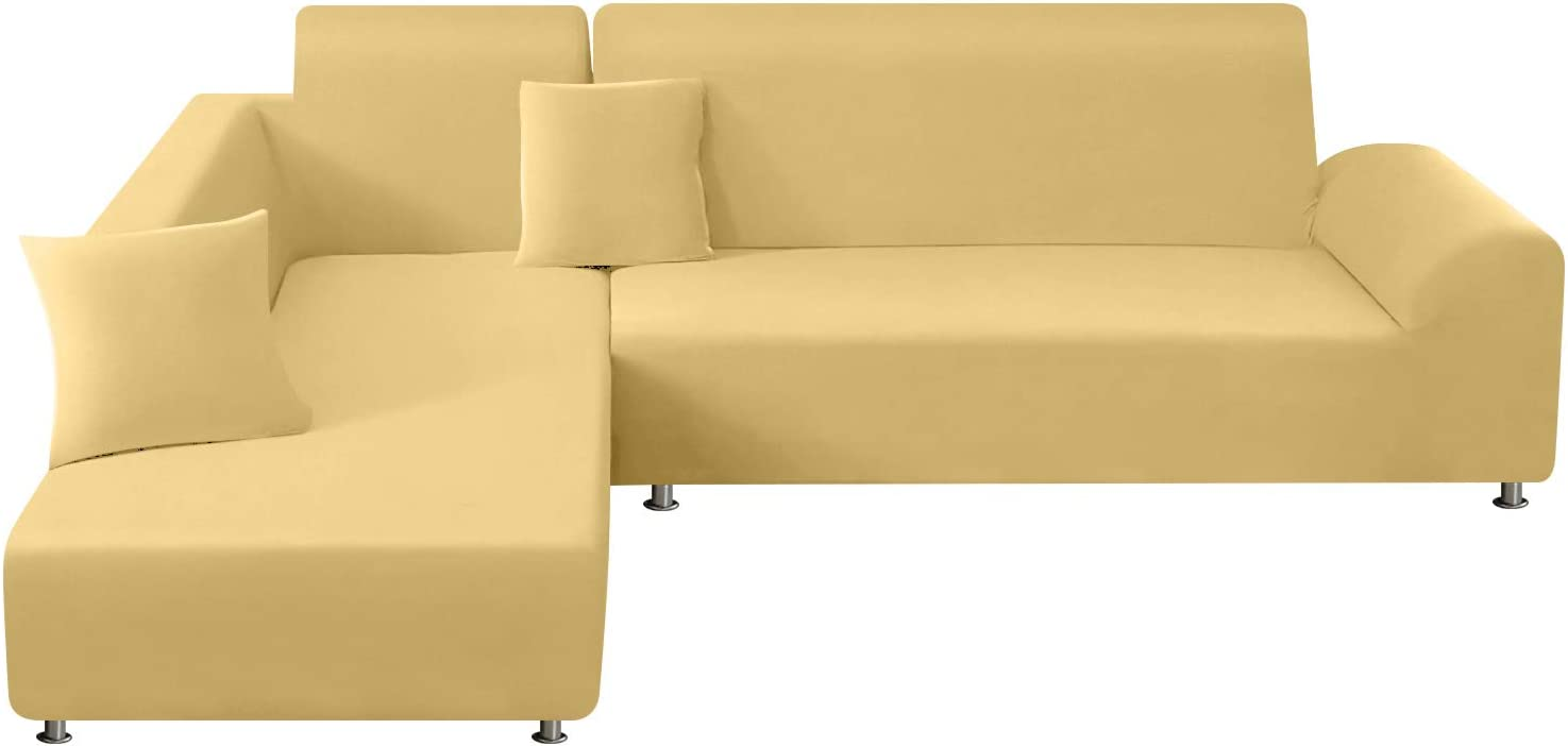 TAOCOCO Sectional Couch Covers 2pcs L-Shaped Sofa Covers Softness Furniture Slipcovers with 2pcs Pillowcases L-Type Polyester Fabric Stretch Sofa Covers 3 Seats +3 Seats (Pale Yellow)