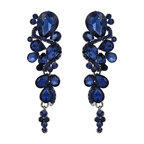 Blue Stone Chandelier - BriLove Women's Bohemian Boho Crystal Wedding Bridal Multiple Teardrop Chandelier Clip-On Dangle Earrings Navy Blue Black-Silver-Tone