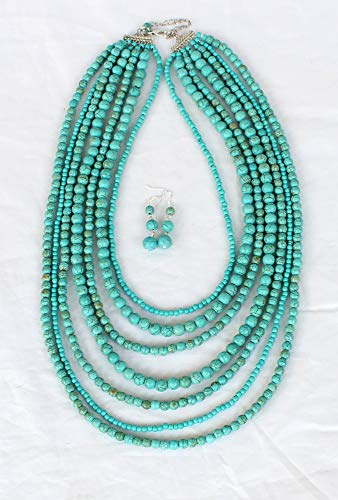 Turquoise Necklace 7 Row Multi Beaded Necklace With Earrings Set Strand Statement Necklace (Strand Turquoise Necklace)