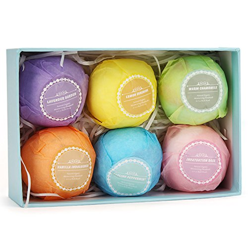Bath Bombs Gift Set, IWOTOU Ultra Large Bath Bomb Kit All Natural Essential Oil Lush Spa Floating Fizzies Organic Shea/Cocoa Soothe Dry Skin, Best Gift Ideas for Kids, Women, Must-have Bath Products,