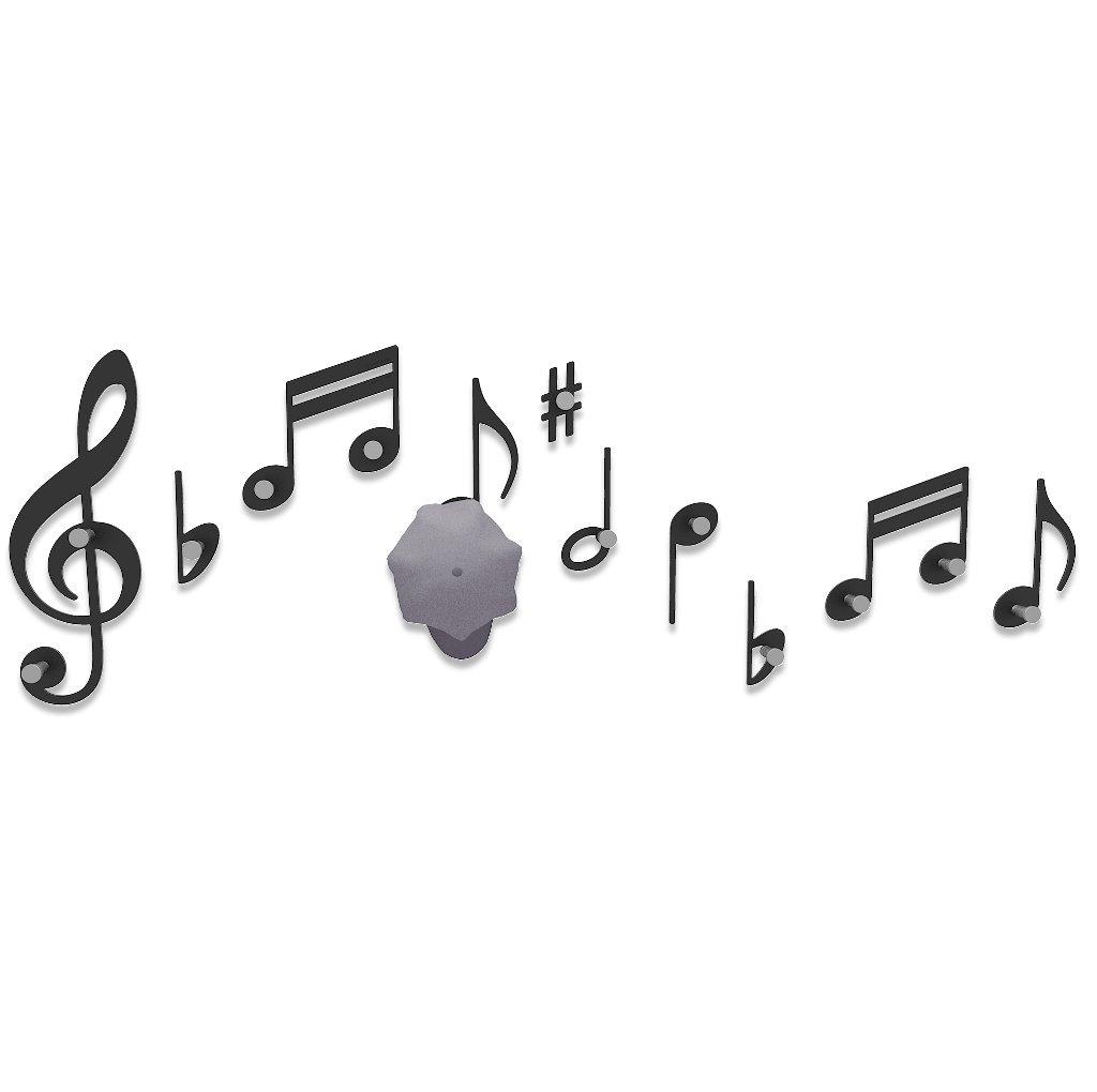 Appendiabiti da Parete Design Note Musicali colore Nero