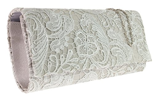 Sides Evening Designer Clutch Satin Girly Fashion Elegant Lace Wedding Bridal Silver Prom HandBags Bag Both C887Yqw