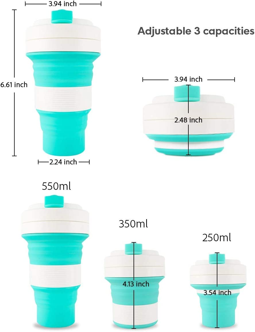 Silicone Collapsible Travel Cup Folding Cup/Mug Sport Bottle with Lids - Foldable & Portable & Lightweight Coffee Cup for Camping Hiking Outdoor & Office - BPA Free