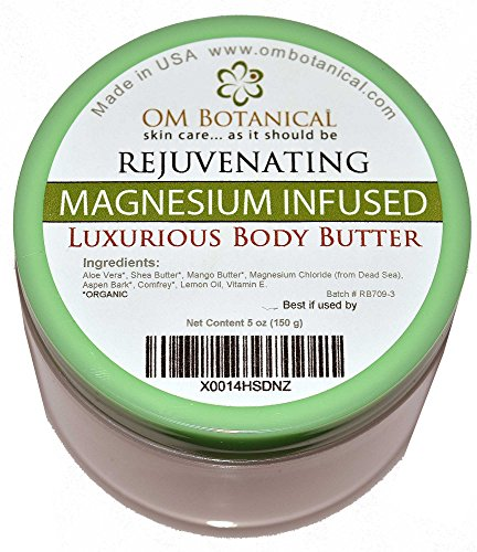 MAGNESIUM Infused ORGANIC BODY BUTTER: w/Shea and Mango Butter Infused With Dead Sea Magnesium. Topical Relief Lotion For Insomnia, Migraines, Restless Leg, Cramps, Fatigue. Natural Moisturizer Cream
