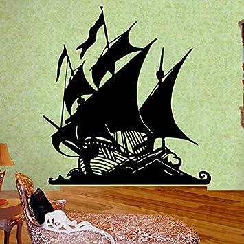 Dibujos animados barco pirata vinilo pegatinas de pared barco ...