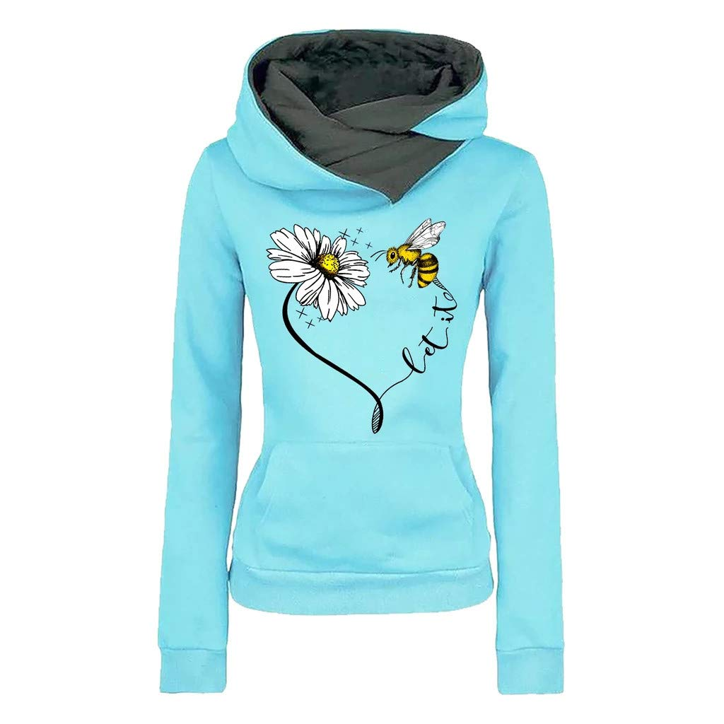 HAALIFE ◕‿ Cowl Neck sweatshirtsfor Women Funny Graphic Print Patchwork Pullover Hoodies Drawstring Sweater Tops with Pockets Blue by HAALIFE Women's Clothing