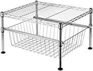 SortWise ® 2-Tier Mini Wire Utility Shelving Rack with Sliding Drawer Basket, Free Standing Adjustable Shelf R