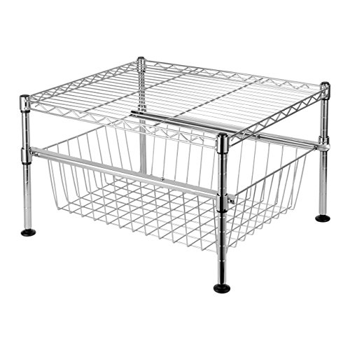 SortWise  2-Tier Mini Wire Utility Shelving Rack with Sliding Drawer Basket, Free Standing Adjustable Shelf Rack Unit for Home Kitchen Bathroom Pantry Laundry Storage | Under the Sink Organization | Organize your Cabinets