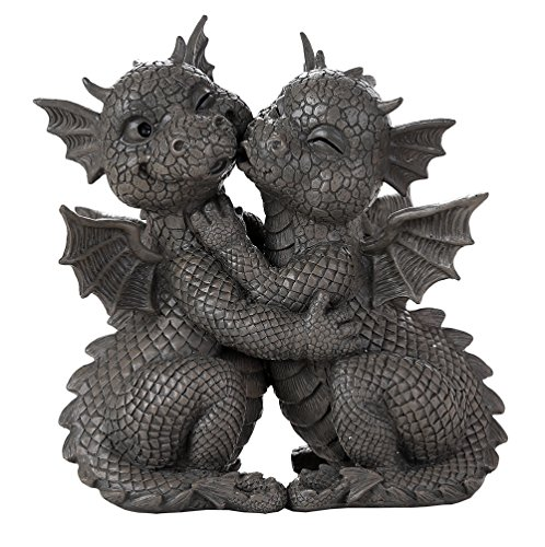 Pacific Giftware Garden Dragon Loving Couple Garden Display Decorative Accent Sculpture Stone Finish 10 Inch Tall (Garden Statue Couple)