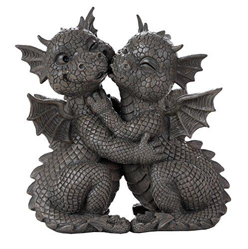 Decorative Sculpture - Pacific Giftware Garden Dragon Loving Couple Garden Display Decorative Accent Sculpture Stone Finish 10 Inch Tall