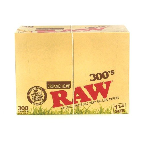 RAW 300's ROLLING PAPERS ORGANIC HEMP 1 1/4 SIZE 300 LEAVES UNFLAVORED FLAVOR PACK OF 40