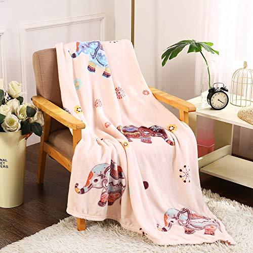 Noble House Boho Throw Blanket Pink Elephant Soft Fleece 50