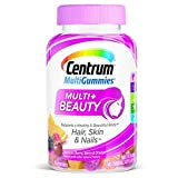 Centrum Multigummies Multi + Beauty Hair Skin Nails Multivitamin, Cherry, Berry, Orange, 90 Gummies
