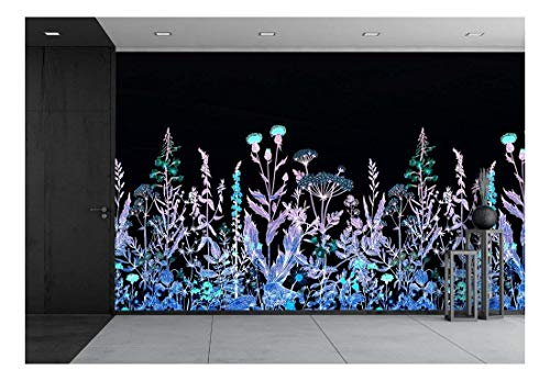 Large Wall Mural Various Flowers on Black Background Vinyl Wallpaper Removable Wall Decor