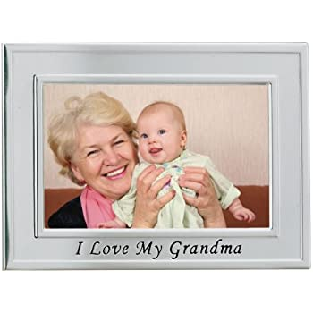 Lawrence Frames Sentiments Collection, Brushed Metal 4 by 6 I Love Grandma Picture Frame