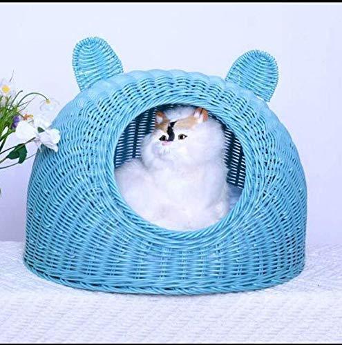 MARIS Rattan Cat Litter Summer Washable Small Pet Nest Cat House Small Dog Kennel,bluee M