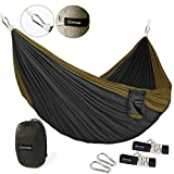 ZOMAKE Double Camping Hammock - Portable High Strength Hammock - Lightweight Blend Color Nylon Fabric Parachute for Outdoor. Hammock Straps & Steel Carabiners Included