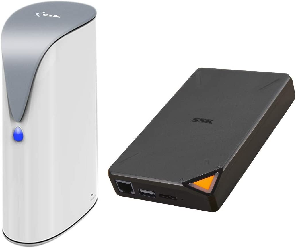 Bundles SSK 4TB Personal Cloud, Network Attached Storage Support Auto-Backup,Home Office Storage NAS and SSK 2TB Portable NAS External Wireless Hard Drive with Own Wi-Fi Hotspot