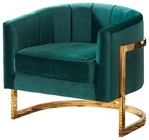 "Meridian Furniture Modern | Contemporary Upholstered Velvet Barrel Accent Chair with Gold Stainless Base, 29"" W x 27.5"" D x 31"" H, Green - Green plush velvet Stainless Steel base in rich gold Finish Seat Height 18. 5""H - living-room-furniture, living-room, accent-chairs - 51TauYIG6VL -"