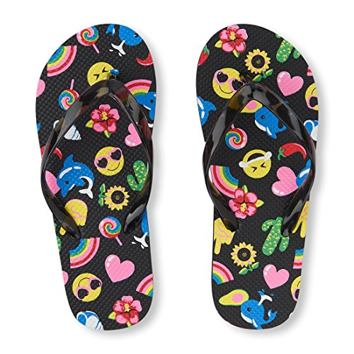 The Children's Place Girls' BG Emoji FF Flat Sandal, Black, Youth 3-4 Medium US Big Kid