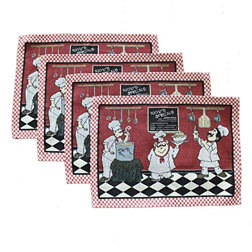 MeMoreCool American Rustic Fat Chef Dining Room Placemats Table Jacquard Cotton Heat Insulation Stain-Resistant Kitchen Placemats
