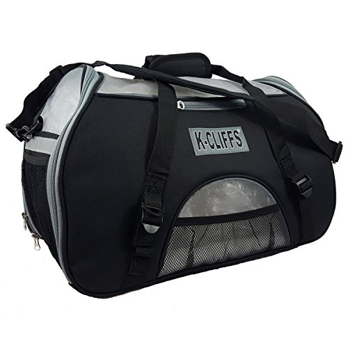 K-Cliffs Pet/Heavy Duty Dog/Cat Comfort Carrier, Airline Friendly Travel Tote Bag, Kennel with Fleece Bed, Soft Sided, Small/Medium, Black