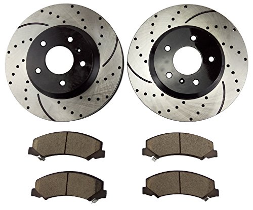 Atmansta QPD10053 Front Brake kit with Drilled/Slotted Rotors and Ceramic Brake pads for Buick Lucerne Chevrolet Impala Monte Carlo