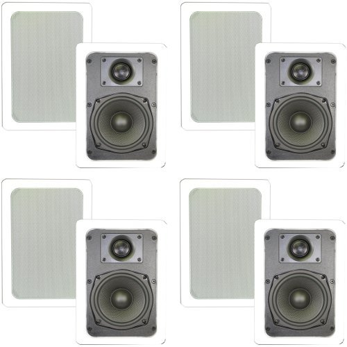 Theater Solutions TS50W in Wall Speakers Surround Sound Home Theater 4 Pair Pack