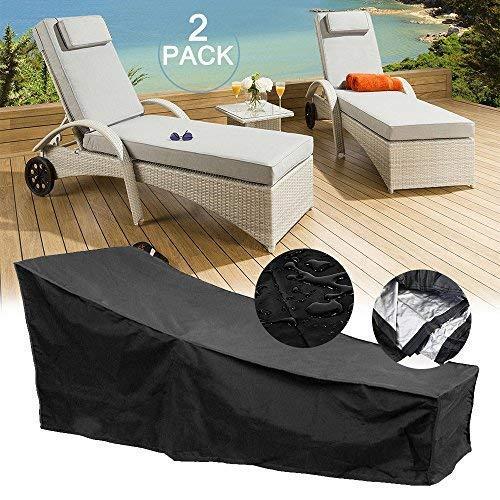 feifei 2 Pack Waterproof Patio Chaise Lounge Covers Durable Fabric Sun Recliner Protective Covers(82'' X 29