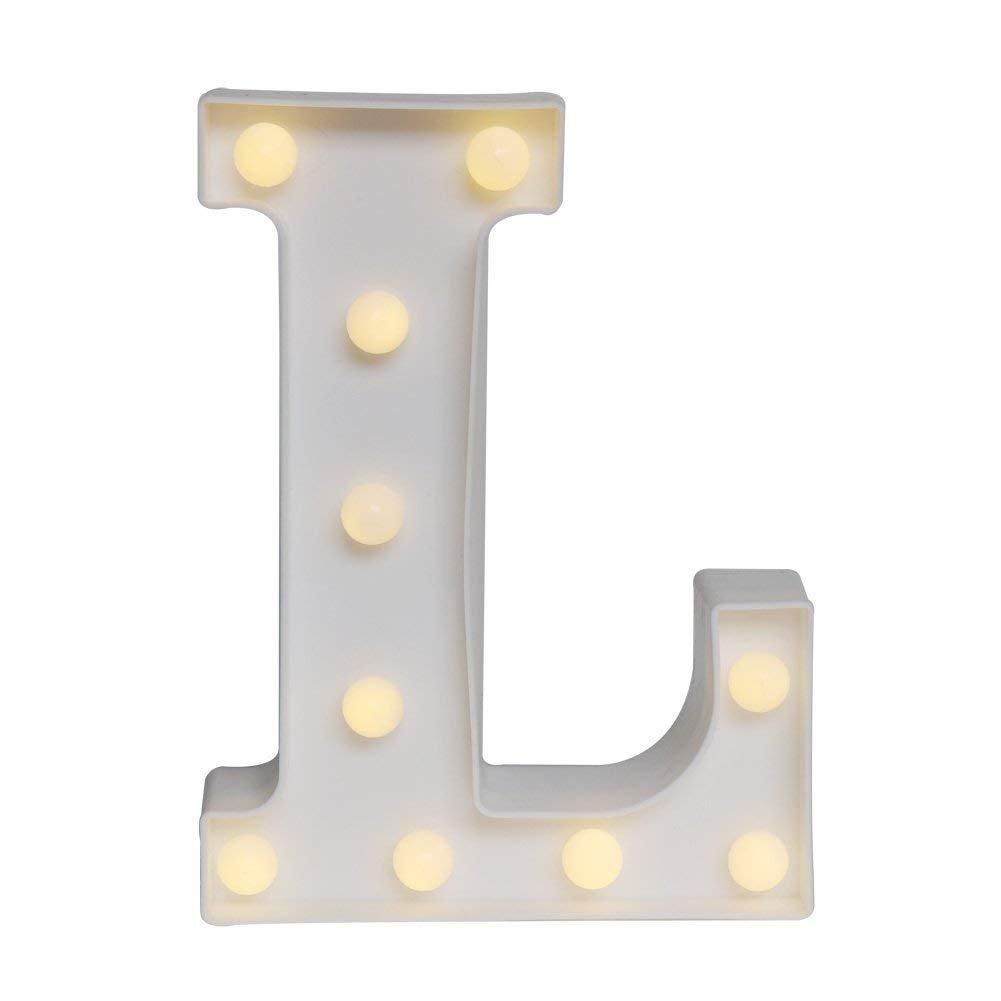 Do4U Letras del alfabeto LED señal de luz, plástico A-Z blanco letra decorativa para cumpleaños, boda, fiesta, bar, dormitorio, decoración interior