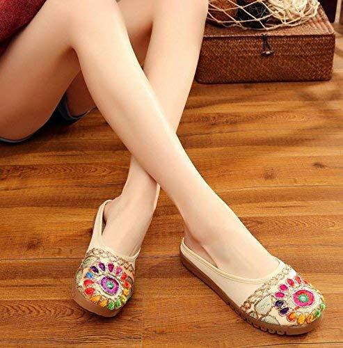 Eeayyygch Bestickte Schuhe Sehnensohle ethnischer Flip Stil weiblicher Flip ethnischer Flop Mode bequem Sandalen Beige 38 (Farbe   - Größe   -) 36c4ca