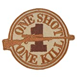 DCU Desert Sniper Hook-and-Loop Patch Morale ONE SHOT ONE KILL Camo Uniform BDU Military